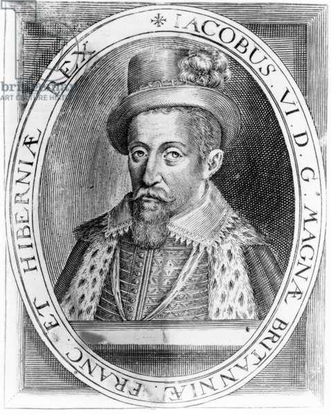 James VI of Scotland, print published by H. Jacopsen, 1618 (engraving)