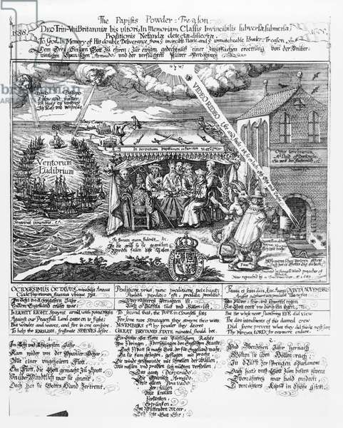 To God, in Memory of his Double Deliverance from the Invincible Navy (1588) and the Unmatchable Powder Treason (1605), (engraving) repr. by a Transmariner, 1689 (b&w photo)