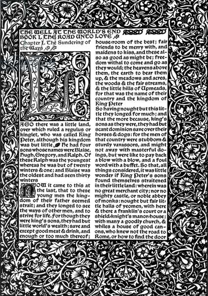 Front Page of Chapter I, taken from The Well at World's End by William Morris, 1896 (engraving)
