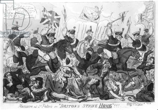 """Massacre at St. Peter's, or 'Britons Strike Home'!!!"", pub. by Thomas Tegg, 1819 (etching) (b&w photo)"