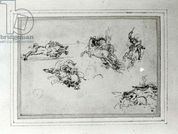 Study of Horsemen in Combat, 1503-4 (pen and ink on paper)