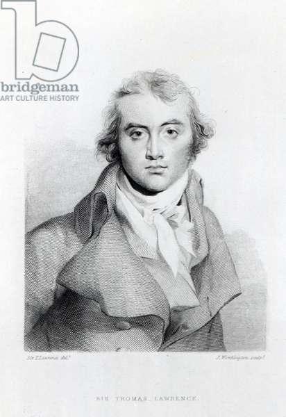 Self Portrait, engraved by J. Worthington (engraving) (b/w photo)