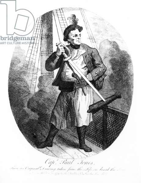 Captain Paul Jones (1747-1792) from an original drawing taken from life on board the Seraphis, 1779 (engraving) (b&w photo)
