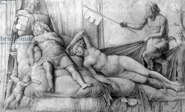 Nude Woman Asleep with Cupid and Satyrs, c.1446-1506, (pencil on paper)