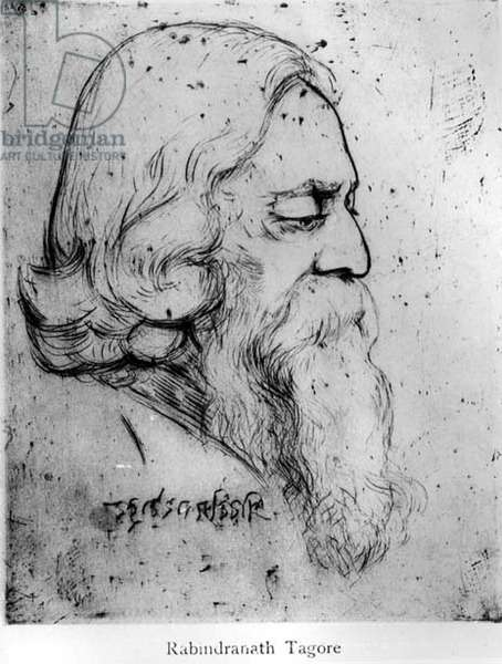 Sir Rabindranath Tagore, 1926 (drypoint etching)