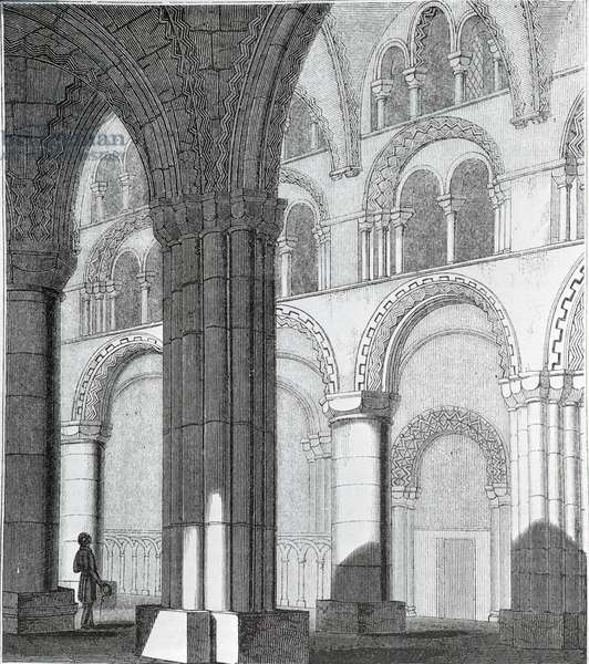 View of Durham Cathedral Nave (engraving) (b/w photo)