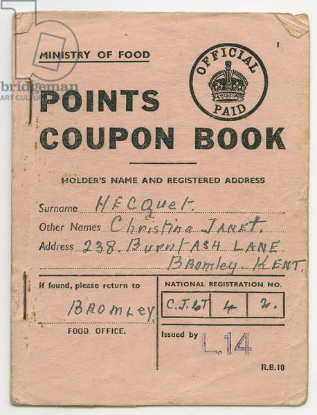 Points Coupon Book for Christina Hecquet, Bromley, Kent, c.1945 (print)