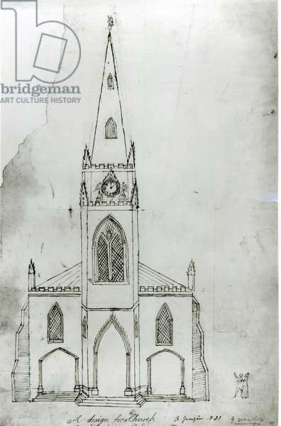 A Design for a Church, 1821 (ink on paper) (b/w photo)