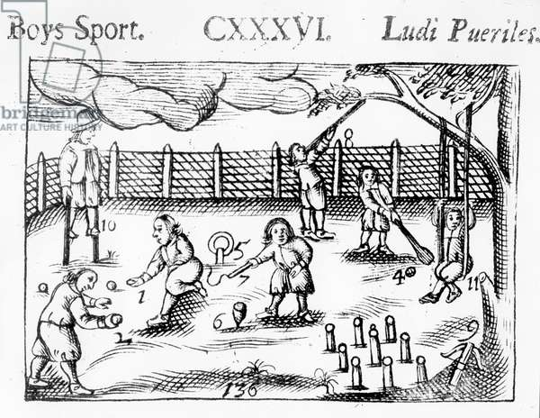 Boys' sport from 'Orbis Sensualium Pictus', 1658 (woodcut)