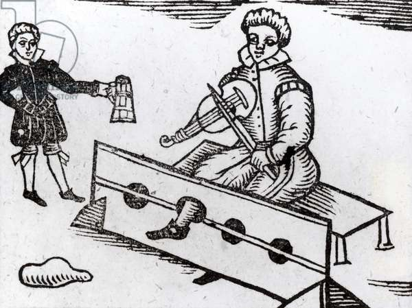 A Purse Snatcher in the Stocks, illustration from an Elizabethan ballad (woodcut) (b/w photo)