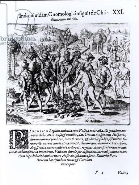 Vasco Nunez de Balboa (1475-1519) Demonstrating the Avarice of Christians (engraving) (b/w photo)