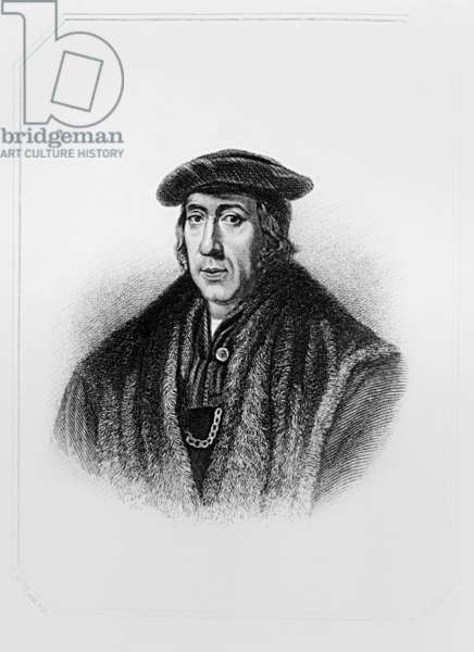 Portrait of Sir John More (c.1451-1530) from 'Lodge's British Portraits', 1823 (engraving) (b/w photo)