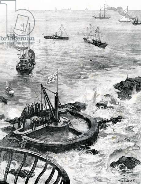 The Prince of Wales and Duke of Edinburgh laying the foundation-stone of the new Eddystone lighthouse, illustration from 'The Illustrated London News', 1879 (engraving)