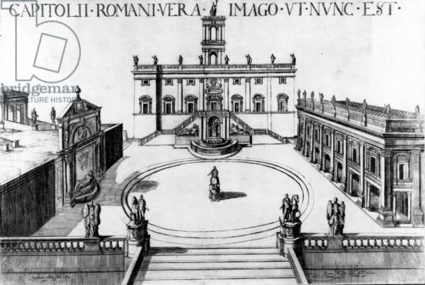 View of the Capitoline in Rome, 1600 (etching)