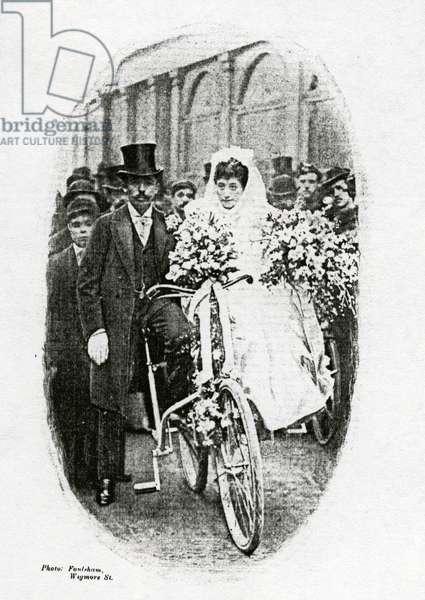 A Bicycle Wedding (b/w photo)