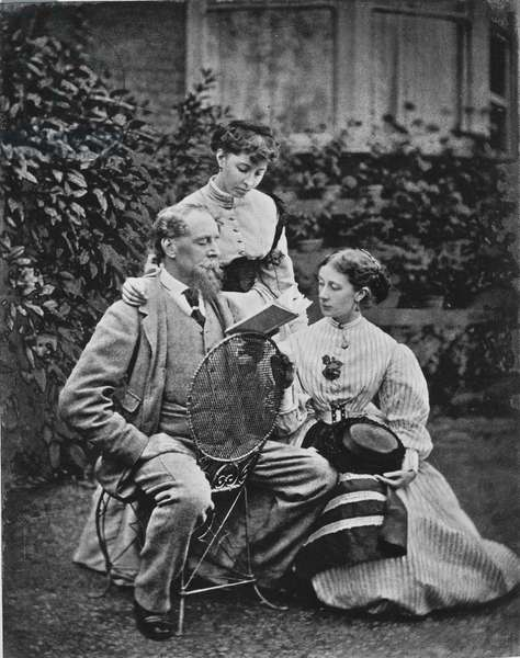 Charles Dickens with two of his daughters, c.1865 (b/w photo)