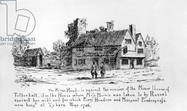 The King's Head is against the remains of the Manor House of Tottenhall (engraving)