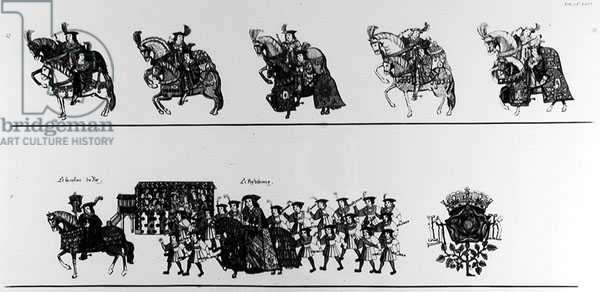 A Procession to the Joust (engraving) (b/w photo) (see 138677-78)