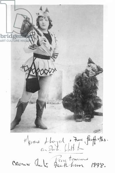 Marie Lloyd (1870-1922) as Dick Whittington in 1898 (b&w photo)