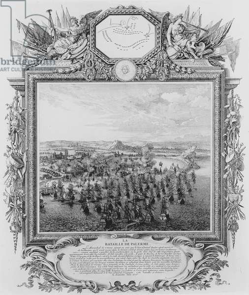 The Battle of Palermo, June 1676 (engraving) (b/w photo)