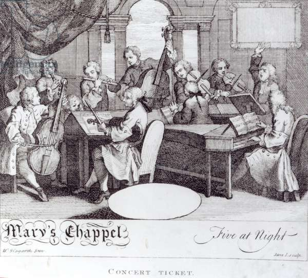 Concert Ticket for Mary's Chapel (engraving) (b/w photo)