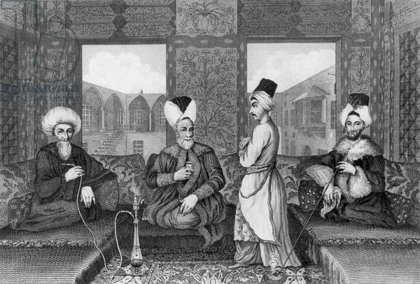Ottoman Dignitaries, originally from 'Voyage to Mount Libanus' by Dandini, c.1680, illustrated in 'General Collection of the Best and Most Interesting Voyages and Travels in all Parts of the World' by John Pinkerton, published 1808-14 (engraving) (b/w photo)