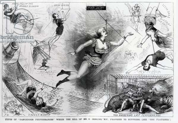 Types of 'Dangerous Performances' which the bill of Mr E. Jenkins, M.P. proposes to suppress, illustration from 'The Penny Illustrated Paper', March 12, 1880 (engraving)