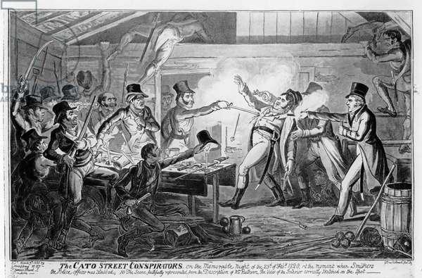 The Cato Street Conspirators, pub. G. Humphrey, 1820 (etching) (b&w photo)