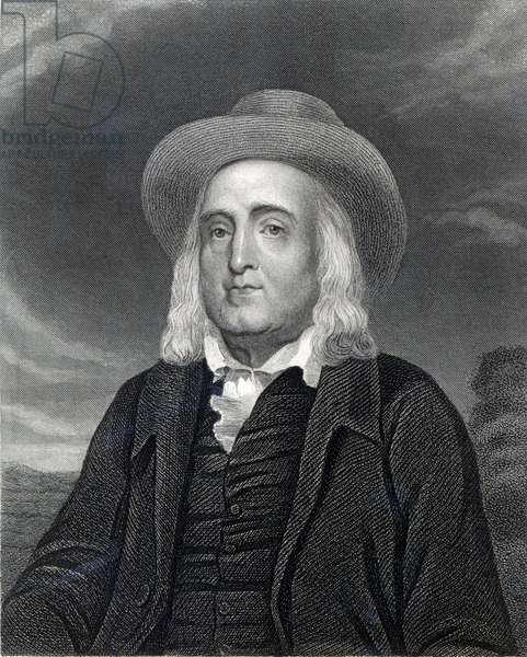 Jeremy Bentham (1748-1832) from 'Gallery of Portraits', published in 1833 (engraving) (b/w photo)