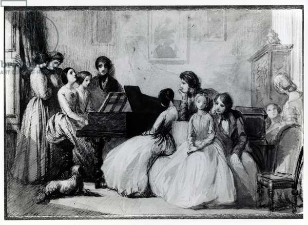 The Drawing Room Concert (pen, ink and wash on paper)