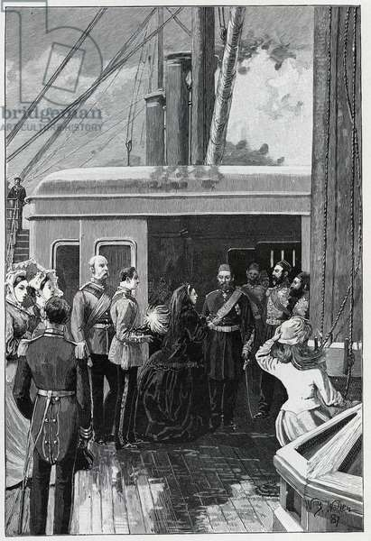 The Queen investing Abdul Aziz with the Order of the Garter, 1881 (engraving)