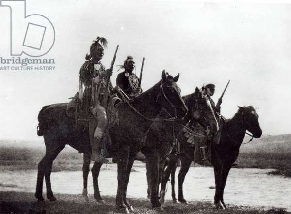 Custer's Crow Scouts, Native American tribe, 1908 (b&w photo)