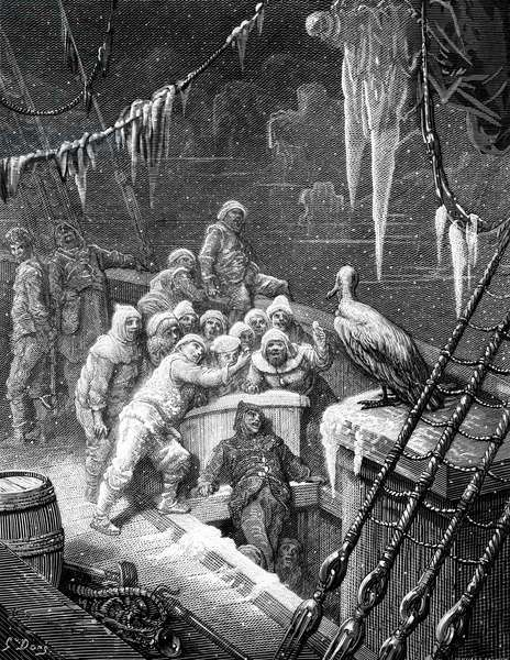 The albatross being fed by the sailors on the the ship marooned in the frozen seas of Antartica, scene from 'The Rime of the Ancient Mariner' by S.T. Coleridge, by S.T. Coleridge, published by Harper & Brothers, New York, 1876 (wood engraving)