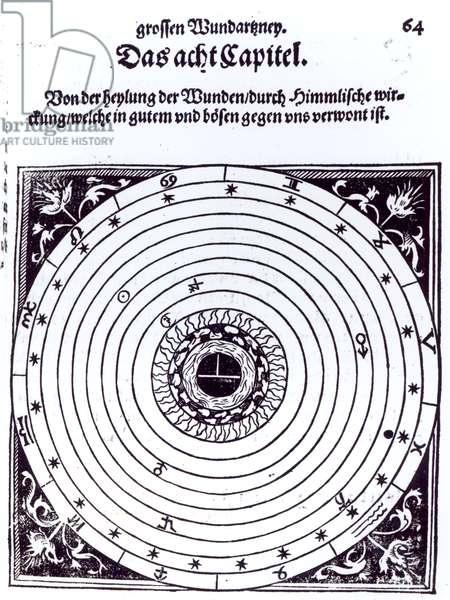 A Personal Astrological Chart (woodcut) (b/w photo)