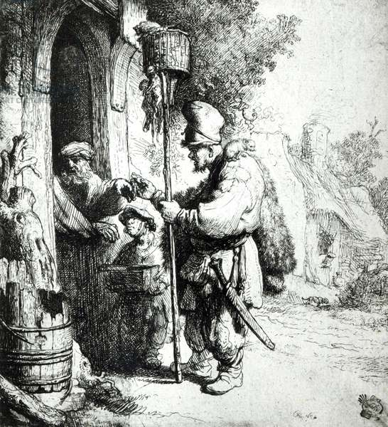 The Ratcatcher, 1632 (etching) (b/w photo)