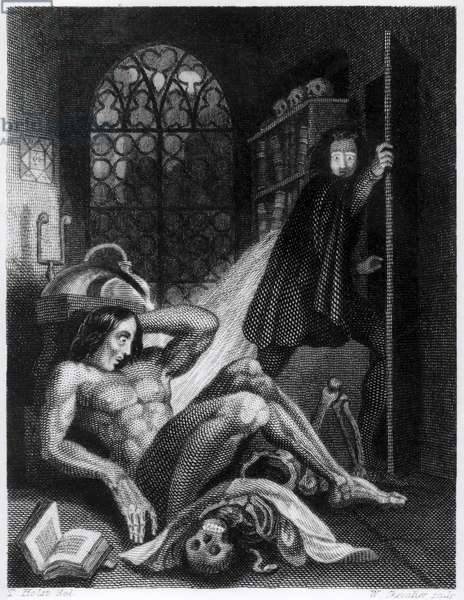Illustration from 'Frankenstein' by Mary Shelley (1797-1851) (engraving) (b/w photo)