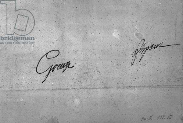 Jean-Baptiste Greuze's signature (ink on paper) (b/w photo)