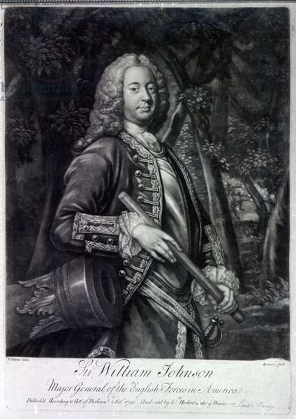 Sir William Johnson, engraved by Charles Spooner, 1756 (mezzotint)