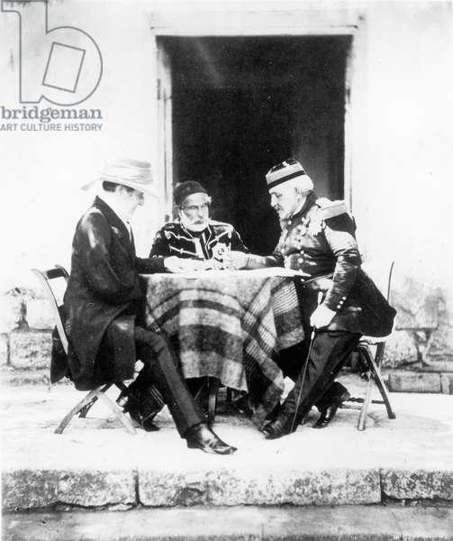 Lord Raglan, Omar Pasha and General Pelissier, Crimea, 1855 (b&w photo)