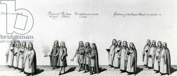 Procession at the coronation of James II, 1687 (engraving)