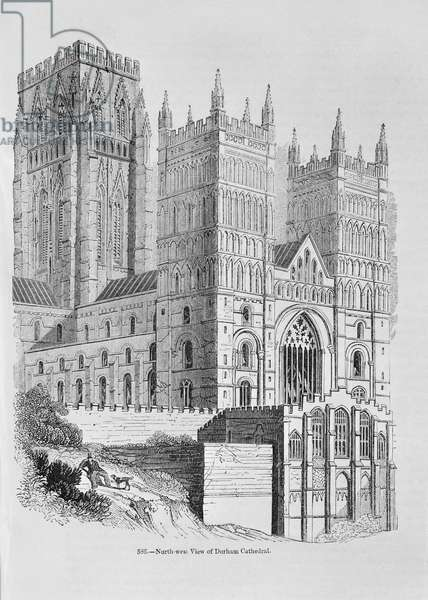 North-West view of Durham Cathedral (engraving) (b/w photo)