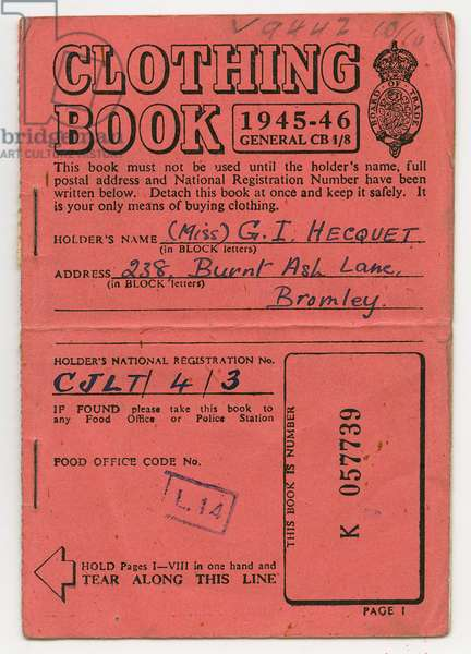 Clothing Book for Miss Hecquet, Bromley, Kent, 1945 (print)