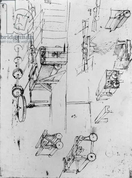 Machine designs, fol. 367r-b (pen and ink on paper)