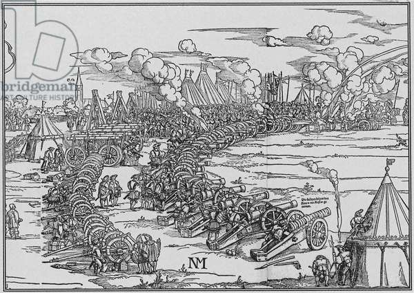 The Artillery Park of  Charles Quint, 1530 (engraving)