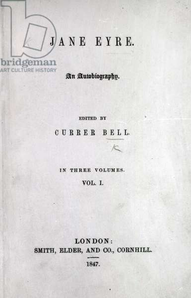 Title page to the first edition of 'Jane Eyre' by Charlotte Bronte, 1847 (print)
