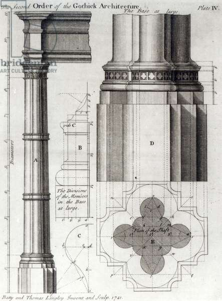 The Second Order of Gothic Architecture, 1741 (litho) (b/w photo)