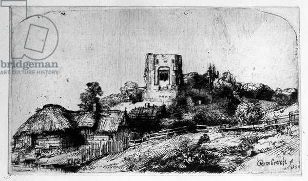 Landscape with a Tower, 1650 (etching)