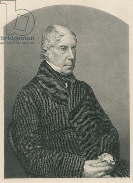 George Hamilton-Gordon, 4th Earl of Aberdeen, engraved by D.J. Pound from a photograph, from 'The Drawing-Room of Eminent Personages, Volume 2', published in London, 1860 (engraving)