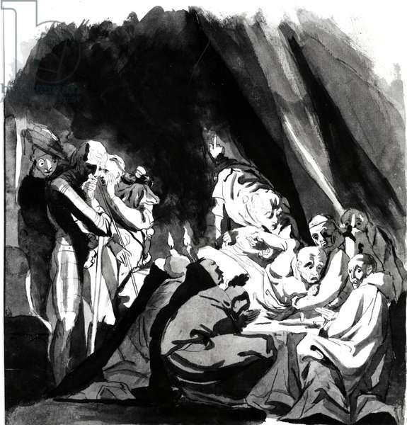 Death of Cardinal Beaufort, illustration from Shakespeare's 'Henry VI', 1772 (pen, ink & wash on paper)
