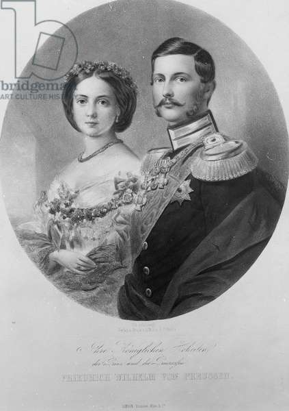 Wedding Portrait of Their Royal Highnesses Princess Victoria (1840-1901) and Crown Prince Frederick William of Prussia (1831-88) 25th January 1858, engraved by Carl Sussnapp (litho) (b&w photo)